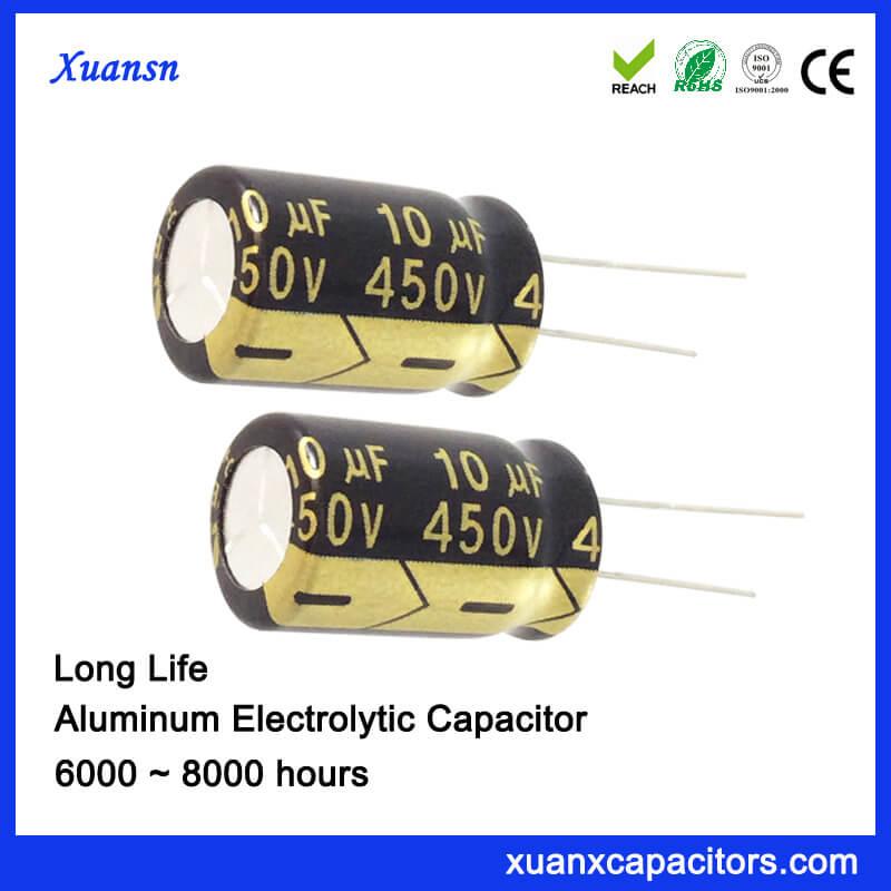 10UF 450V High Voltage Capacitor 8000Hours 10*16mm