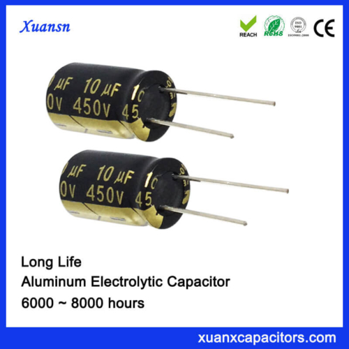 10UF 450V High Voltage Capacitor 8000Hours 10*16mm