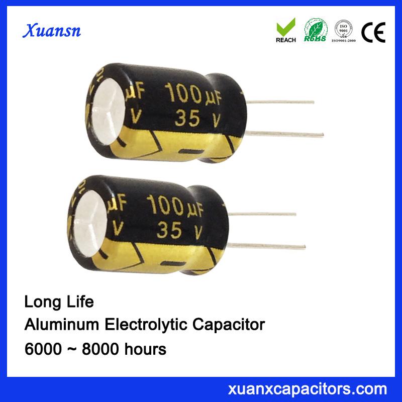 105 Degree Long Life Alminum 100uf 35v Electrolytic Capacitors