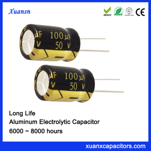 105c Degree High Ripple 100uf 50v Electrolytic Capacitor