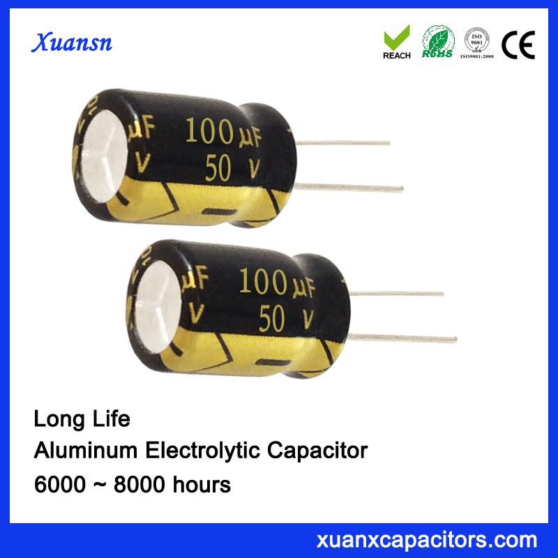 105c Degree High Ripple 100uf 50v Electrolytic Capacitor