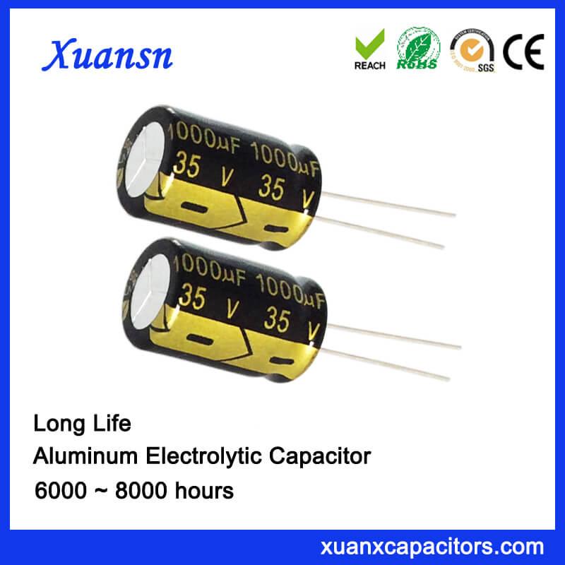 Radial Long Life 1000uf 35v 105c Electrolytic Capacitor