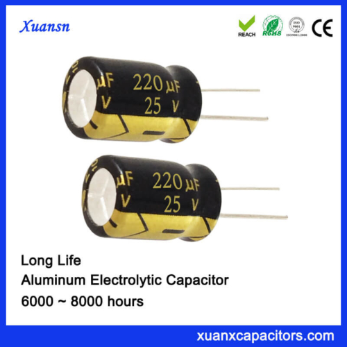 220UF 25V Long Life Electrolytic Capacitor