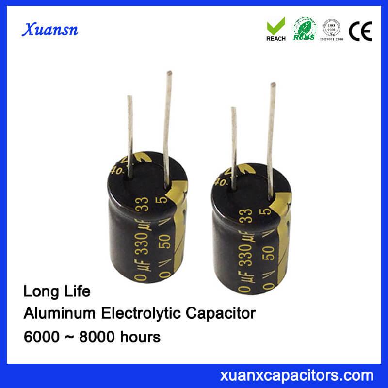 Long Life DIP Electrolytic 330uf 50v Capacitor 105c
