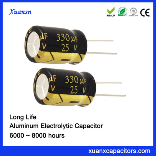 25V 330UF Long Life Electrolytic Capacitor China Supplier