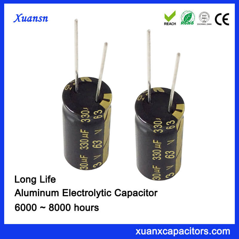 Long Life High Temperature 330uf 63v Capacitor Electrolytic