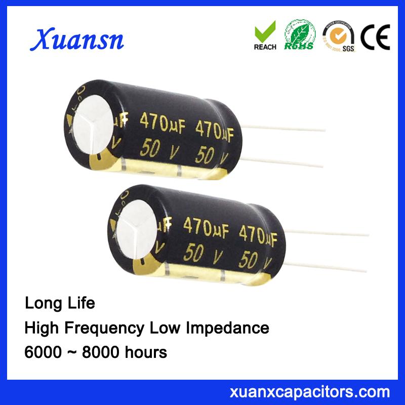 Popular 50V 470UF Long Life Aluminum Electrolytic Capacitor