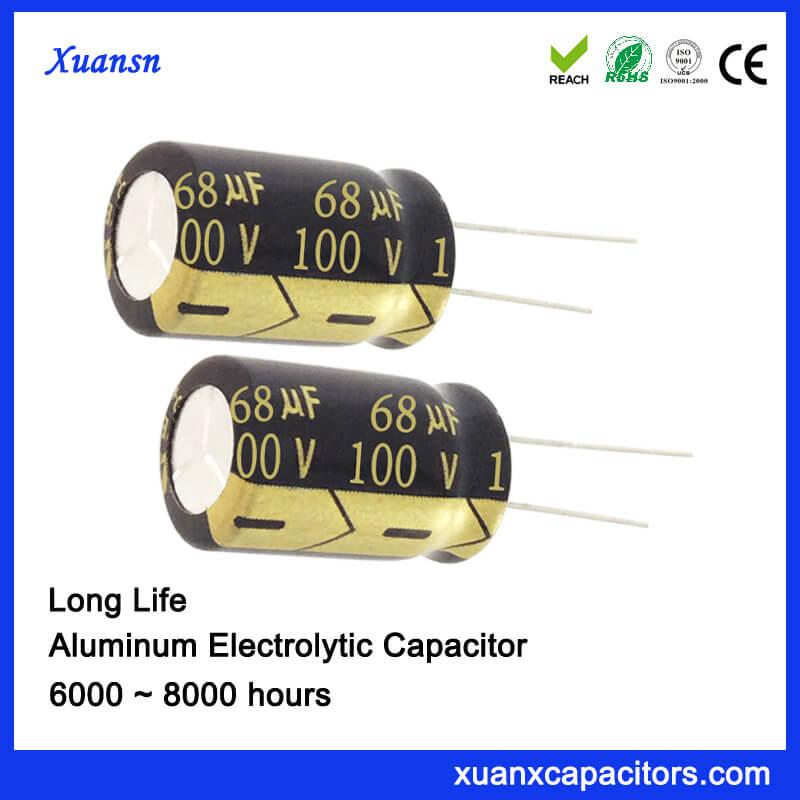 Customized Long Life 68uf 100v Electrolytic Capacitor