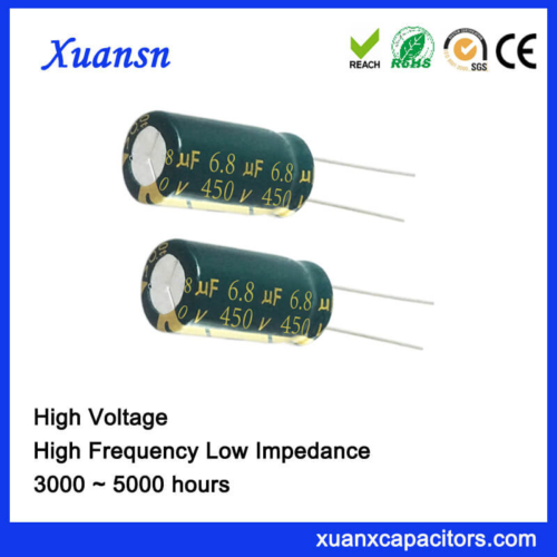High Voltage 450V 6.8UF Electrolytic Capacitor High Frequency