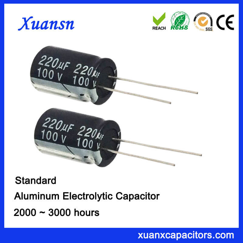 220UF 100V Lead Aluminum Electrolytic Capacitors