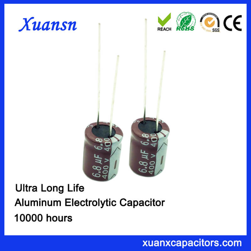 High Voltage 6.8uf 400v 10000hours Electrolytic Capacitor