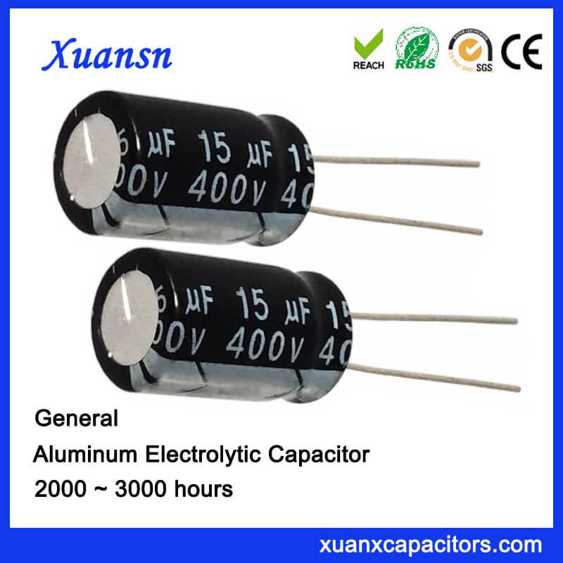 General 15uf 400v Aluminum Capacitor Electrolytic