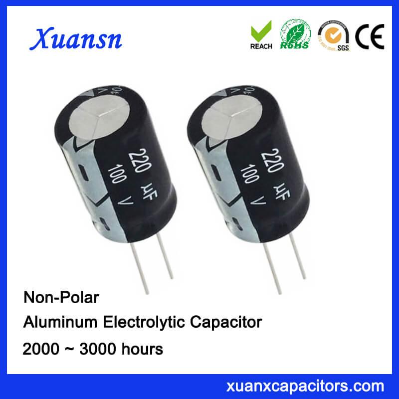 Non Polarised 220UF 100V Electrolytic Capacitor