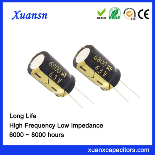 Through Hole 6800UF 6.3V Electric Capacitor 8000Hours