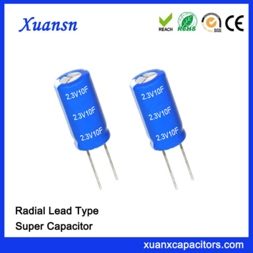 High Quality Radial Lead Super 2.3V 10F Capacitor