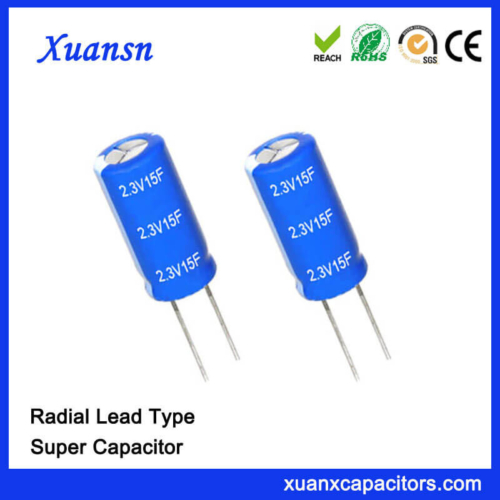 Through Hole 2.3V 15F Capacitor Super