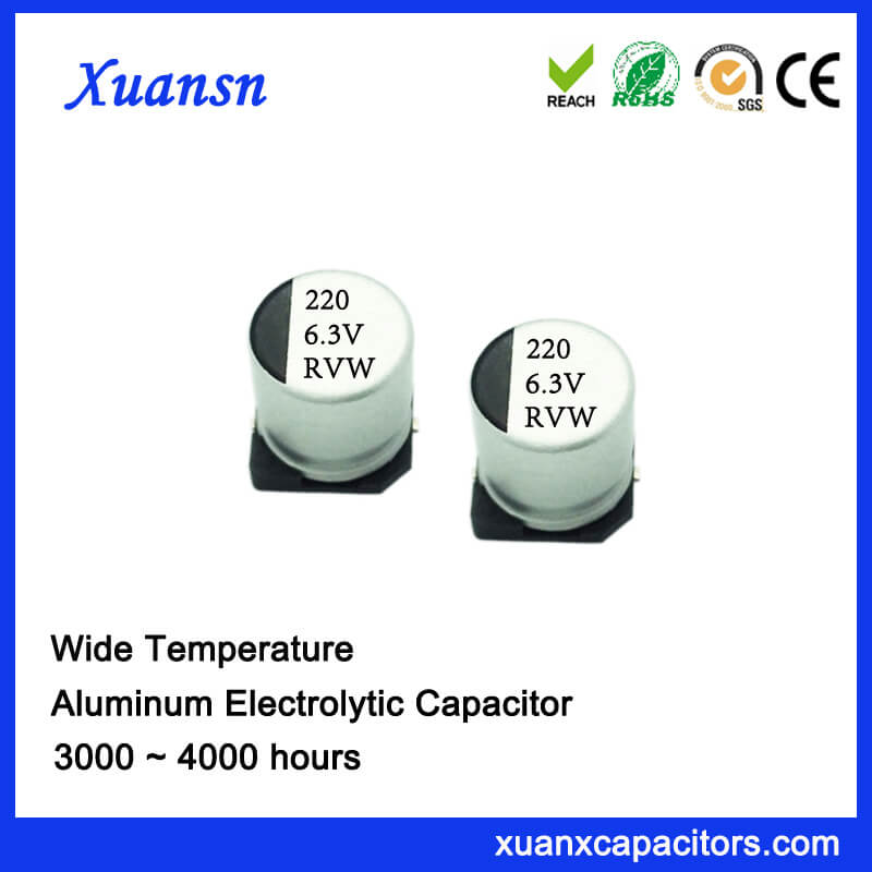 220UF 6.3V 3000Hours 105℃ SMD Aluminum Electrolytic Capacitor