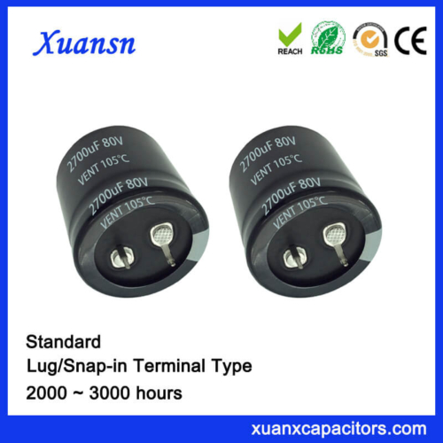 2700UF 80V 105℃ 3000Hours Standrd Snap In Capacitor