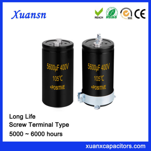 Large Size 5600UF 400V Screw Aluminum Capacitor 64x195MM