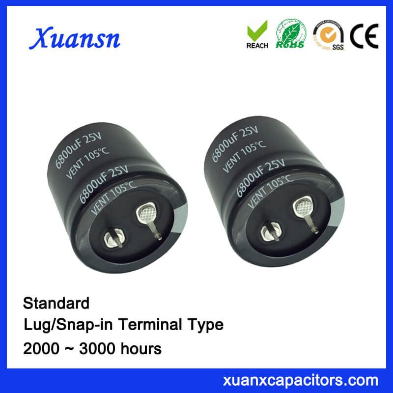 105℃ 6800UF 25V Capacitor Electrolytic Snap In