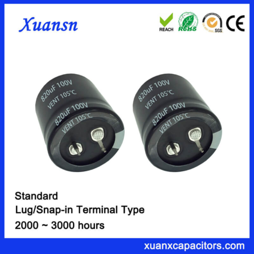 820UF 100V 105℃ 2000Hours Standard Snap In Capacitor