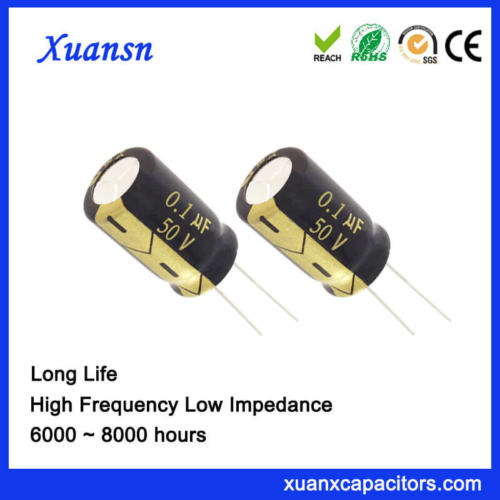 Small Size Radial 0.1 UF 50V Capacitor Electrolytic 6000Hours