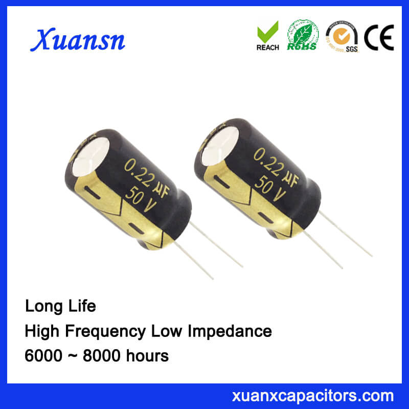 0.22UF 50V Aluminum Electrolytic Capacitor Factory For LED Drive