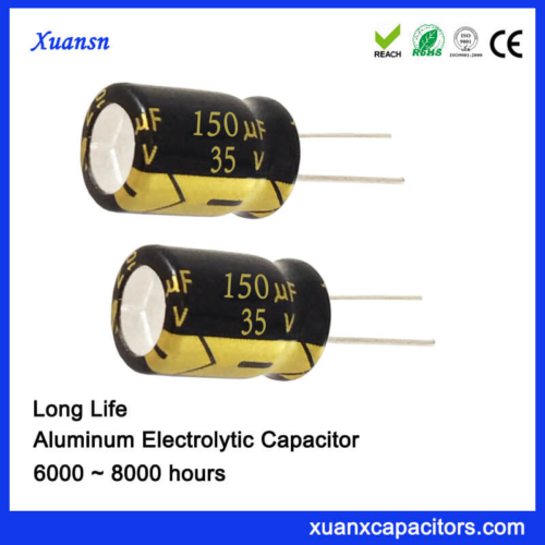 35V 150UF Electrolytic Capacitor 8000Hours For Ballast
