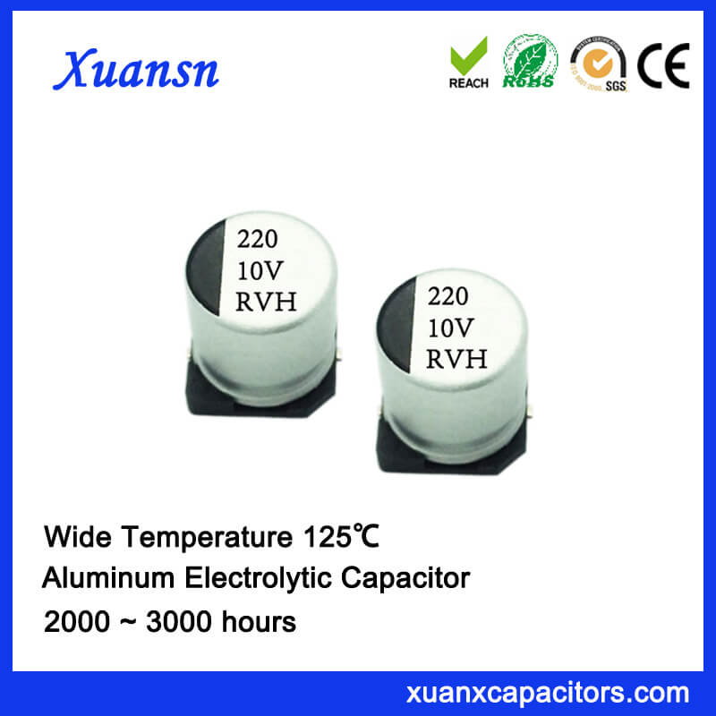 New 125℃ 220uf 10v Chip Aluminum Electrolytic Capacitor