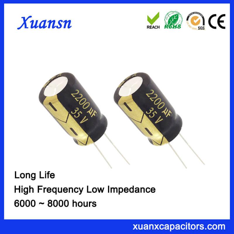 2200uF 35V radial electrolytic capacitor 16*25mm