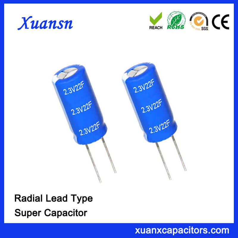 Non- Polluted Super Capacitor 2.3V 22F Capacitor