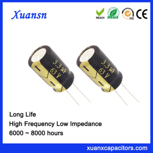 Through Hole 63V 3.3UF Capacitor Electrolytic Long Life