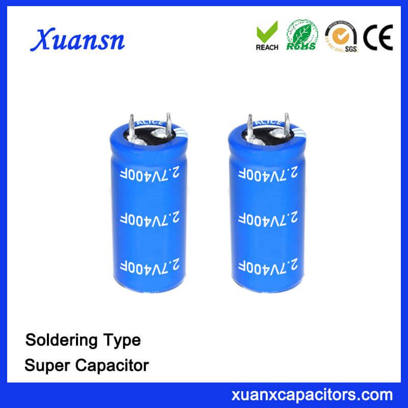 Customized Soldering 2.7V 400F Capacitor Super