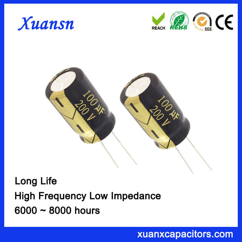 100UF 200V Long Life Aluminum Electrolytic Capacitor 16x25MM
