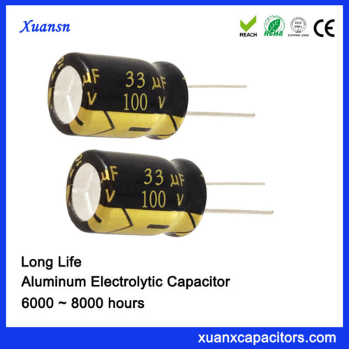 100V 33UF 8000hours Radial Capacitor for Waterproof Power Supply