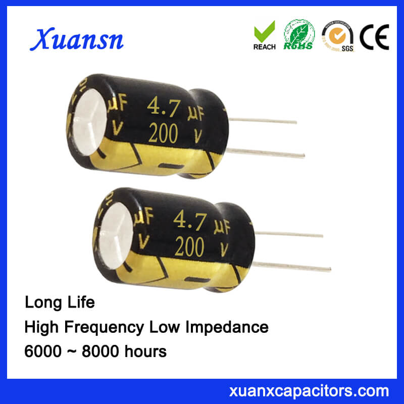 200V 4.7UF Long Life Radial Capacitor Electrolytic 105℃