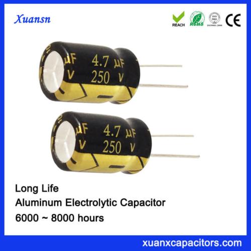 250V 4.7UF Aluminum Electric Capacitor Long Life 8*12mm