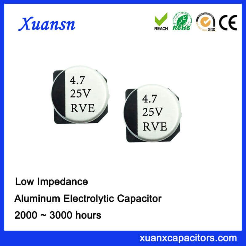 High frequency Low impedance 47uf 25v SMD electrolytic capacitor is available for high density surface mounting and reflow soldring, and it has high stability and reliability.