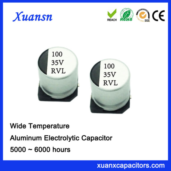 Hot Sale 100UF 35V Long Life SMD Electrolytic Capacitor