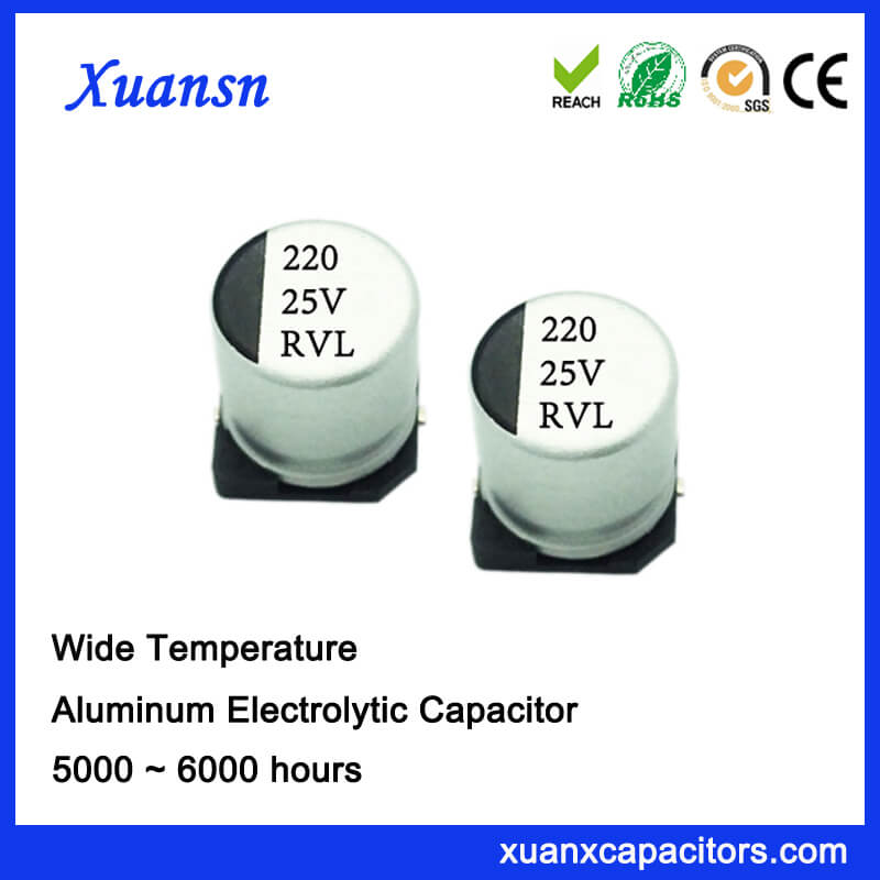 220UF 25V 5000Hours Long Life Chip Electrolytic Capacitor