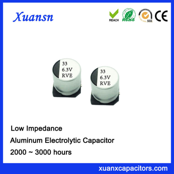 High Frequency SMD 33UF 6.3V Aluminum Electrolytic Capacitor