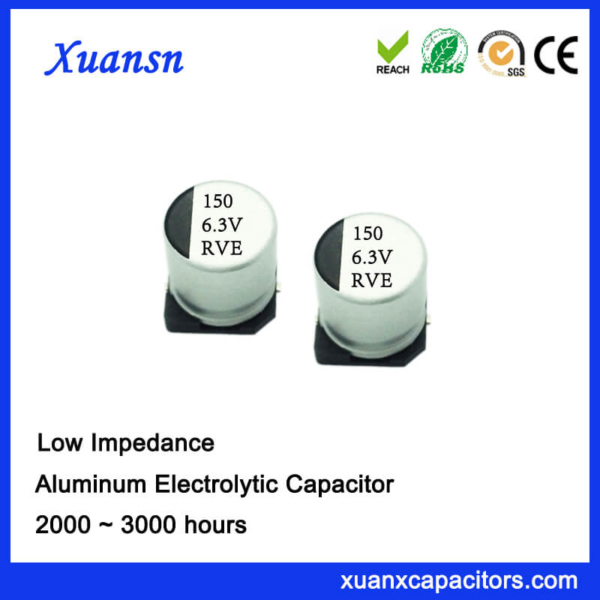 SMD High Frequency 150UF 6.3V Aluminum Electrolytic Capacitor