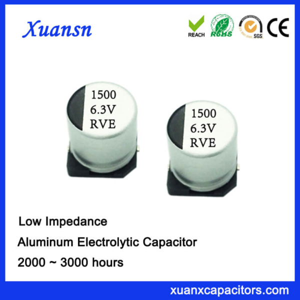 Hot Sale SMD High Frequency 1500UF 6.3V Electroluytic Capacitor