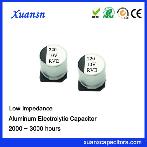 220UF 10V 105℃ 2000Hours SMD High Frequency Capacitor