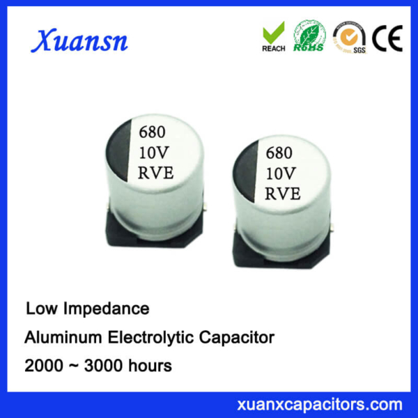 680UF 10V 105℃ AC SMD Low Impedance Electrolytic Capacitor