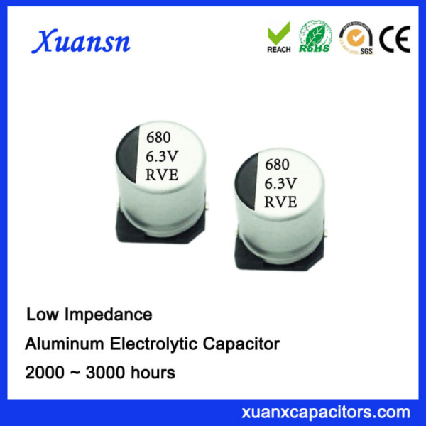 High Stability SMD High Frequency 680UF 6.3V Electrolytic Capacitor