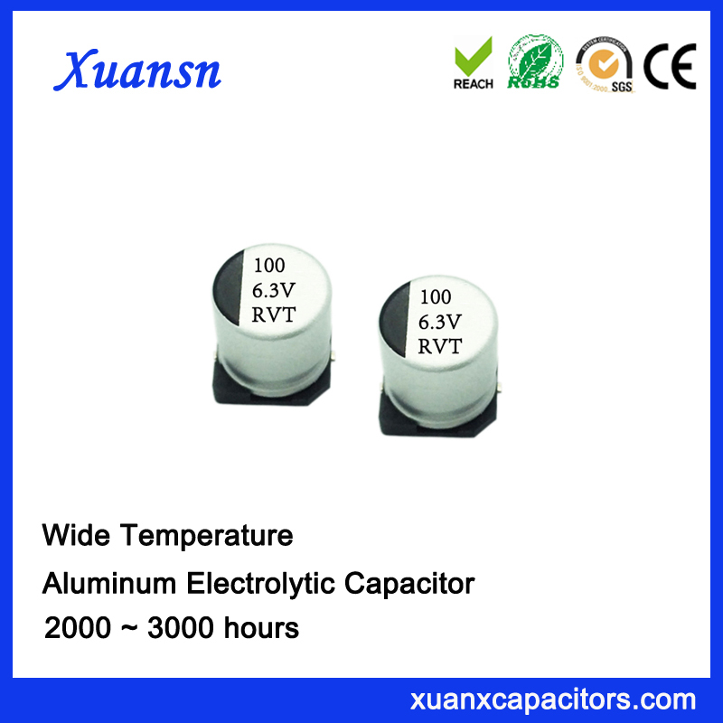 rvt smd aluminum electrolytic capacitor 100uf6.3v