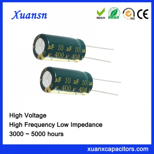 High voltage bypass capacitor 10UF400V Withstands large ripple currents