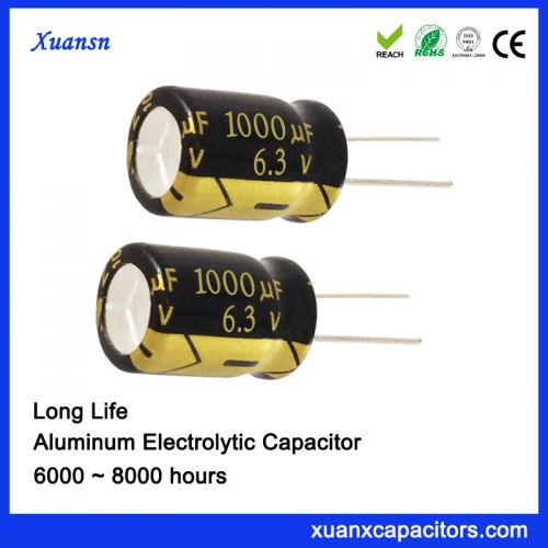 High Quality 1000UF6.3V 8000hours Capacitor for Smart Meter