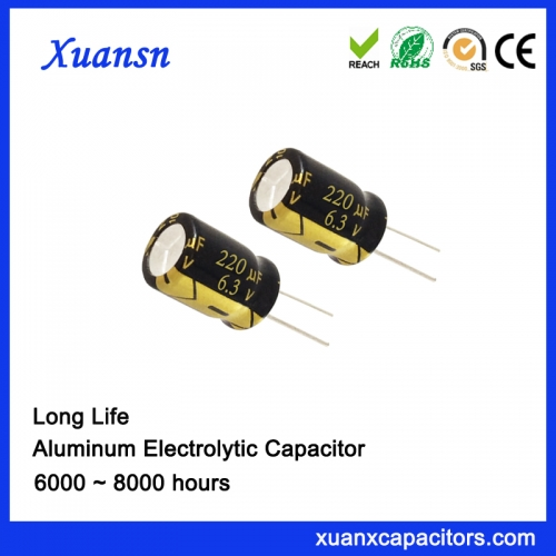 High Qualiyi 220UF6.3V 6000hours Electrolytic Capacitor